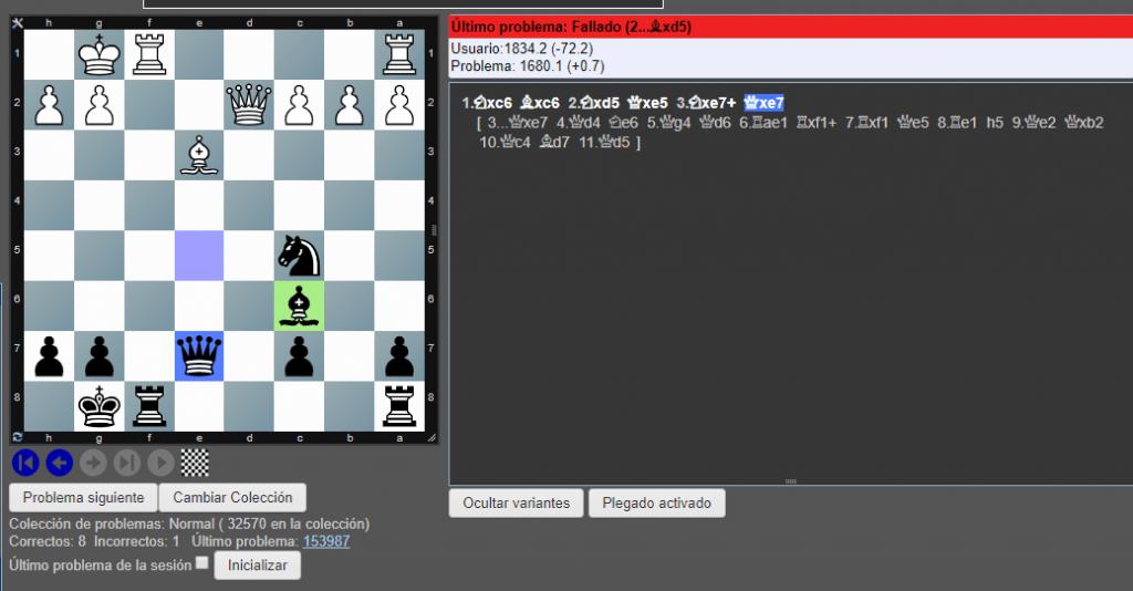practicar táctica online en chesstempo