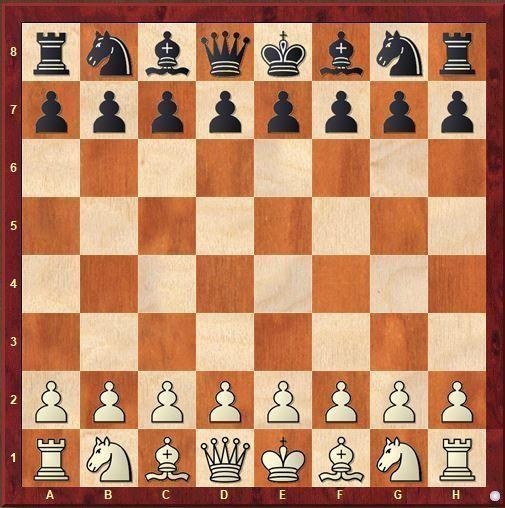 Colocación final de las piezas de ajedrez sobre el tablero
