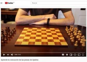 video colocación de las piezas de Ajedrez